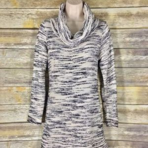 Lou & Grey tunic dress cowl neck marled sweater M
